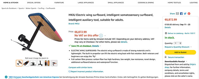 MKIU Electric wing surfboard, intelligent somatosensory surfboard, intelligent auxiliary tool, suitable for adults.  Amazon.de… 2021-08-30 16-34-40